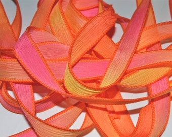 Tropical Burst  42 inch silk ribbons,   By Color Kissed Singles