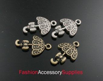 8pcs 22mm Antiqued Bronze,Silver Brass Umbrella Charms ,Pendants (A462)