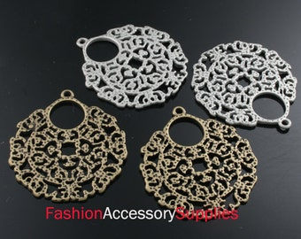 6pcs-29mm Antiqued Bronze,Silver Brass Dainty Baroque Style Round Chandelier ,Pendants(A126-B)