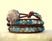 Seafoam Blue Green Leather Triple Wrap Bracelet/stack bracelet/boho/burnt orange/aqua blue/teal blue/rusty brown/amber/earthy/vintage/rustic