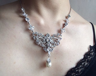 Hollywood sparkle style wedding bridal bridesmaids rhinestones crystals and pearls necklace