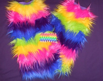 Knee High Rainbow Rave Furry Fluffies Leg Warmers with Kandi Cuff Bracelet -Choose your Elastic Band Color-
