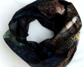 Hand Painted 100%Silk black shawl Butterfly.Silk Scarf. FREE SHIPPING