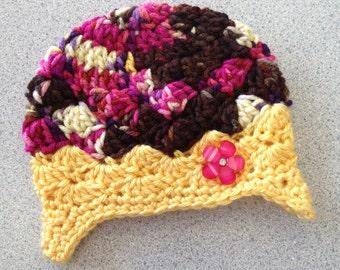 Crochet Baby Girl Earflap Hat Brown Pink Yellow