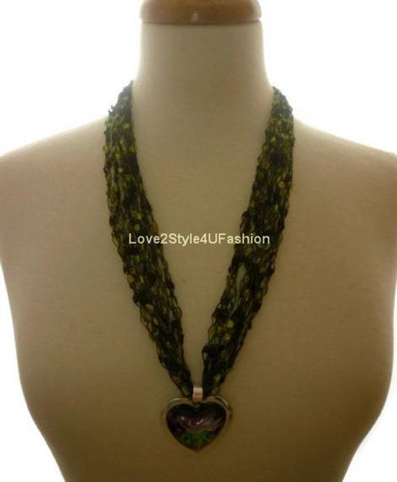 Crochet Trellis Ribbon Necklace Unique Gifts Handmade Fashion Jewelry Fiber Art Womens Necklace Cascade Ladder Yarn Necklace-Green / Pendant