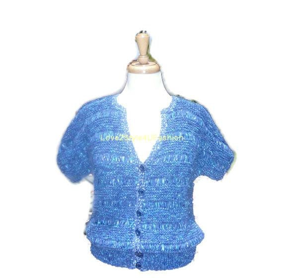 Hand Knit Womens Sweater Hand Knitted Sweater Designer Romantic Ribbon Silky Sweater Button Front Womens Top Love2Style4UFashion - Blue