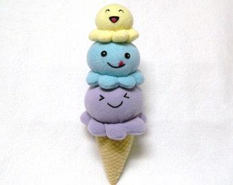 Stuffed custom ice cream cone toy