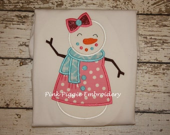 Girly Snowman Applique Shirt For Winter
