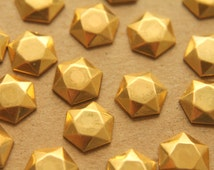6 pc. Raw Brass Domed Faceted Geometric Hexagon: 11mm by 12mm - made in USA | RB-212