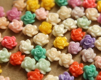 40 pc. Tiny Multi-Colored Flower Cabochons 5mm | RES-270