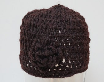 Crochet hat beanie beret cap knit brown chocolate Flower chunky handmade Wool woman girl teenager winter fall spring skullcap openwork dark