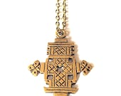 Hand Carved Ethiopian Cross Necklace