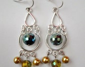 RESERVED For KDC8 - St. Patty's Day Love, Silver Jointed Chandelier, Faceted Green, Golden Shimmer and Pearl Bead OOAK Earrings