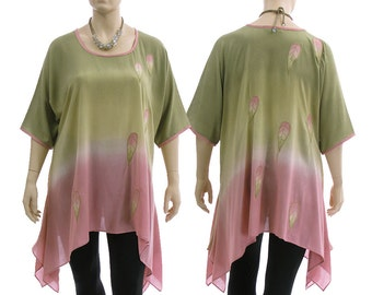 Artsy boho flared tunic, hand dyed tunic in olive-green with pink, oversized tunic with leaves / lagenlook plus sized women XL-XXL, US 18-24