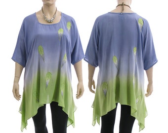 Artsy boho flared tunic, hand dyed tunic in lilac with green, oversized tunic with leaves / lagenlook plus sized women L-XXL, US size 16-22