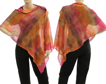 Boho knitted linen poncho wrap cover in orange pink brown / lagenlook hand dyed knit linen poncho in small to plus sizes, US size 6 up to 20