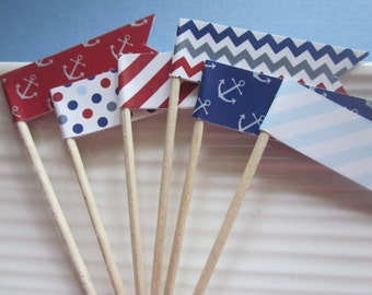 Nautical / red white and blue / patterned / anchor / food/party picks / cupcake toppers / set of 24