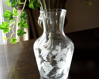 Vintage Etched Glass Vase Decorated with Grapes and Grape Leaves, Made in Portugal