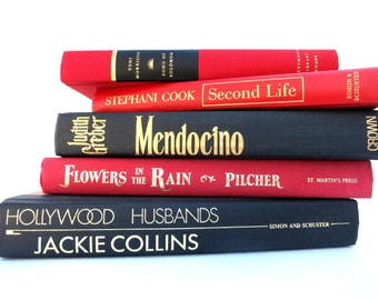 Red and Black Vintage Books / Book Decor / Instant Library / Library filler / Home Decor / Old Books/Photo Prop/Book Bundle/Book Stack