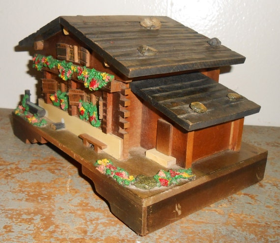 vintage music box log cabin jewelry box chalet trinket