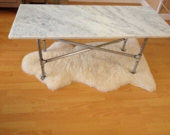Industrial Glam Stone Coffee Table
