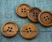 10pcs  Large wooden buttons  30mm elegant high-quality wooden brown mnk200