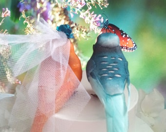 SALE choose your head flower wedding  turquoise teal and orange  exotic or tropical wedding love birds cake topper