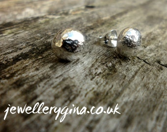 Organic Silver Pebble Stud Earrings