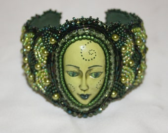 Beautiful Polymer Clay Face & Seed Bead Embroidered Olive Green Bracelet Cuff