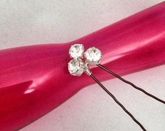 A set of 3, Trio Swarovski Chaton Montee hair pins, bridal hair pins, wedding hair pins, bridesmaids hair pins