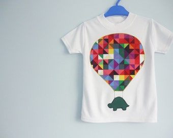 Hot air balloon t-shirt - hot air balloon and tortoise - Kidswear - childrens clothes - geometric