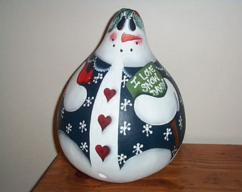 Decorative Tole Painting Snow Woman Gourd Pattern Instant Digital Download