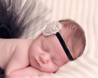 Vintage  lace Headband For Girls, Toddlers, newborns, Swarovski Crystals, Headband, Flower Girls, Modern, christmas, birthday, easter,