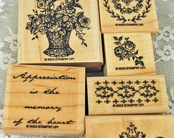"""Stampin Up Rubber Stamps - """"Memory of the Heart"""" MINT and RETIRED - GREAT for Card Making, Scrapbooking, Stamping, Crafts"""