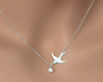 4 Set of Sterling Silver Flying Bird Necklace. Sterling Silver necklace-simple, everyday wear.Bridal Gift Set. Bridal Thanks You Card. Bird