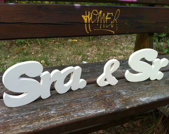 Wooden letters sr. & Mrs. custom wedding