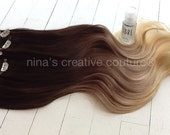 """Ombre Hair Extensions, Dark Brown Hair and Wheat Blonde Fade, Dark Brown Blonde Ombre Hair Extensions, Studio She, 22"""", Custom Your Fade"""