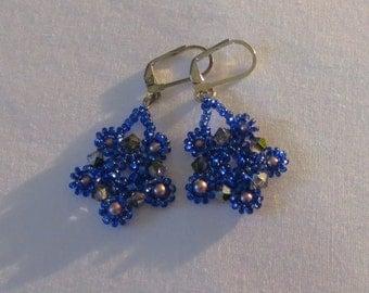Stunning pink and blue pearl  Earrings - Drop Dangle earrings