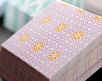 Pink Trellis Letterpress Card Set