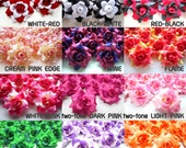 12 mini Silk Roses Heads Two Tone - Artificial Silk Flower - 1.75 inches - Wholesale Lot - for Wedding Work, Make Hair clips, headbands