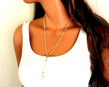 Rosary Necklace Pearls Turquoise Gold Filled Miraculous Medal Women Cross Pendant Y Necklaces Jewelry Custom Rosaries Gift for her