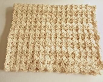 Crochet beige baby blanket handmade crocheted baby afghan