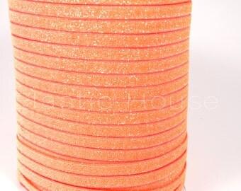 "3/8"" Glitter Elastic  - Neon Orange Color - Orange Glitter Elastic - Orange Velvet Glitter Elastic - Hair Accessories Supplies"