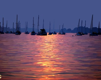 Poole Harbour Instant Digital Download Art Print Paper Canvas Transfer