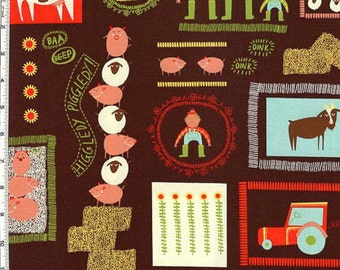 Summer Farming on Brown - Fabric By The Yard