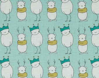 Santa Claus Is Coming To Town on Aqua - Fabric By The Half Yard 18 inches x 44 inches