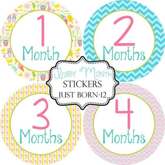 Beach Girl Baby Month Sticker, Monthly Baby Stickers Make Great Baby Shower Gifts..Bonus Just Born Sticker Included
