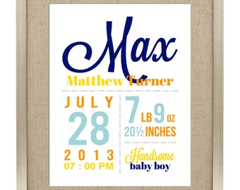Digital Printable Birth Announcement Print - Birth Announcement Wall Art - Digital File ONLY