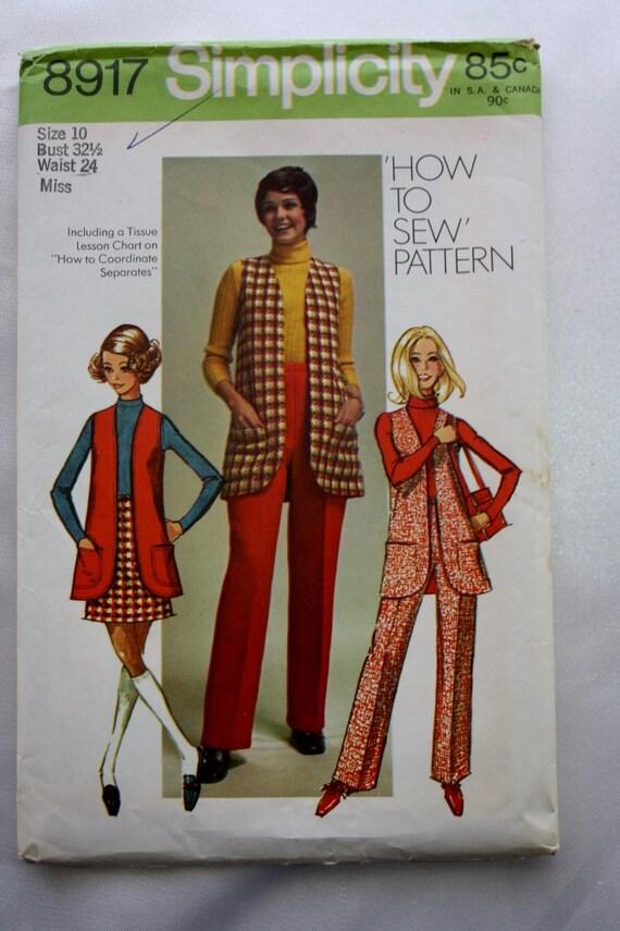 31b435730 Simplicity 8917 /Vest /Mini-Skirt /Pants Vintage Pattern/1970s / Bust 32.5