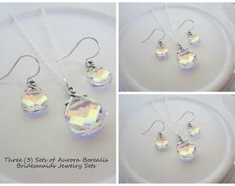 Bridesmaids Crystal Jewelry Sets in Aurora Borealis-Three Sets of Swarovski Crystal Bridal Party Jewelry-Crystal Wedding Jewelry Sets